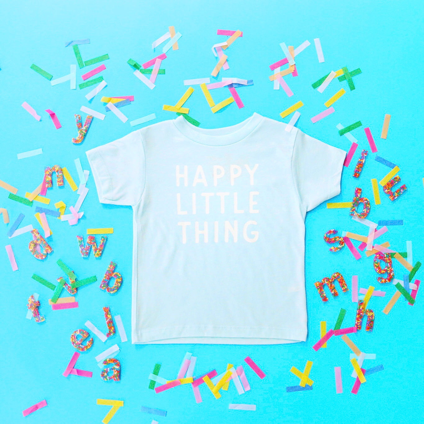 Happy Little Thing Tee, Ice Blue.