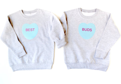 Best Buds Forever Conversation Heart Sweatshirt/Onesie