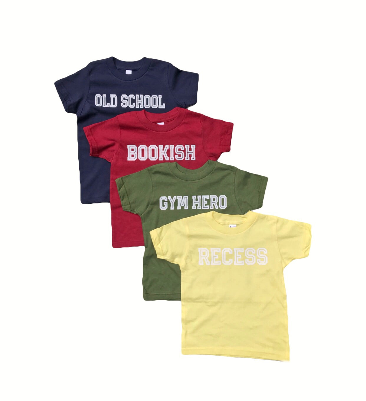 Recess, Gym Hero, Bookish and Old School Tee