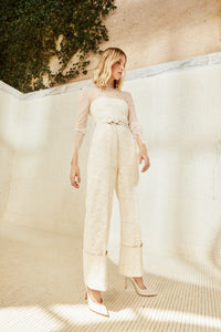 Grace Jumpsuit, Clara Layering Top, Silk Belt