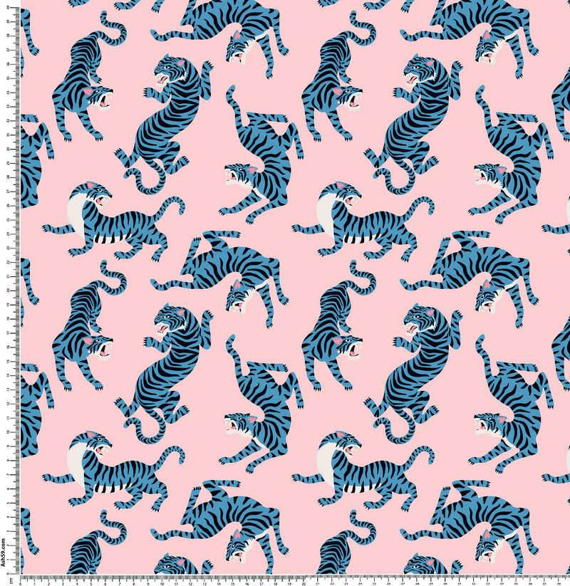 C7 Blue tigers on pink.
