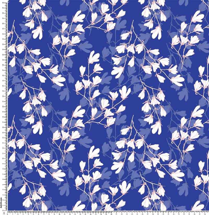 F46 Pink and white floral on royal blue.