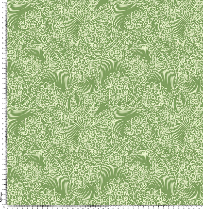 P4 Green and white drawing paisley.
