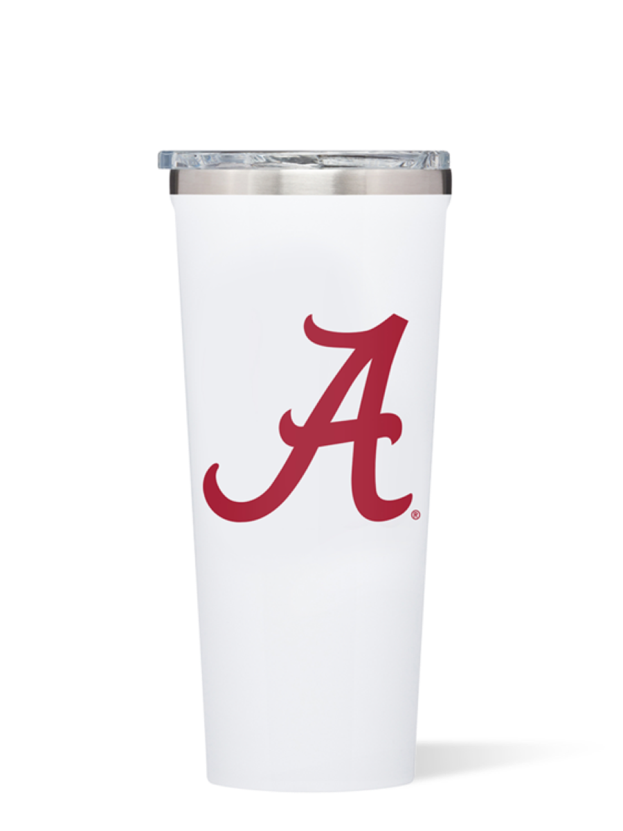 Corkcicle Gloss White Bama Logo 24oz Tumbler