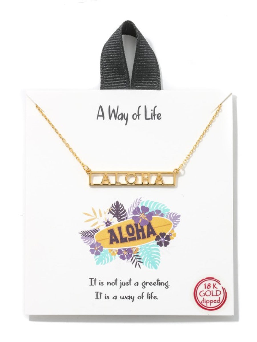 Aloha Box Text Necklace