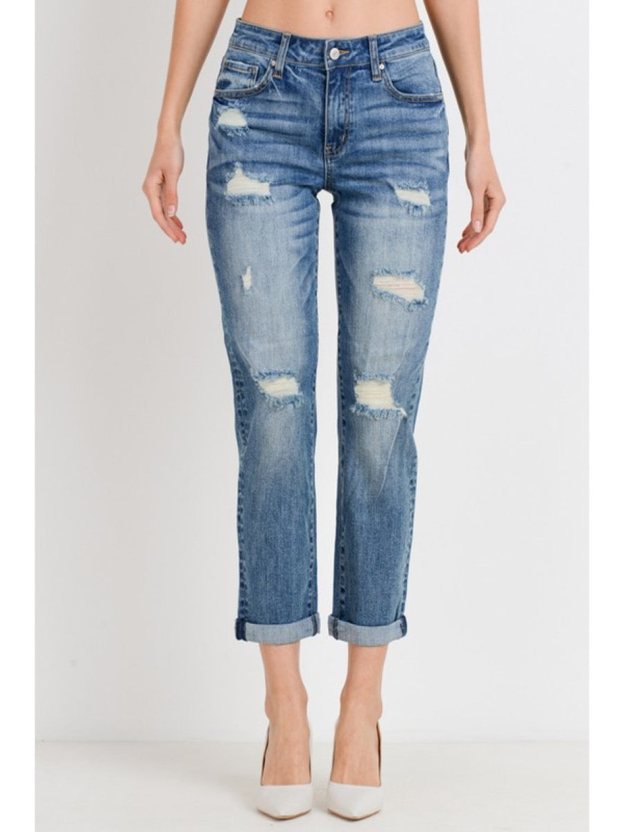 Roll Up Slim Fit Boyfriend Jeans TR012-B