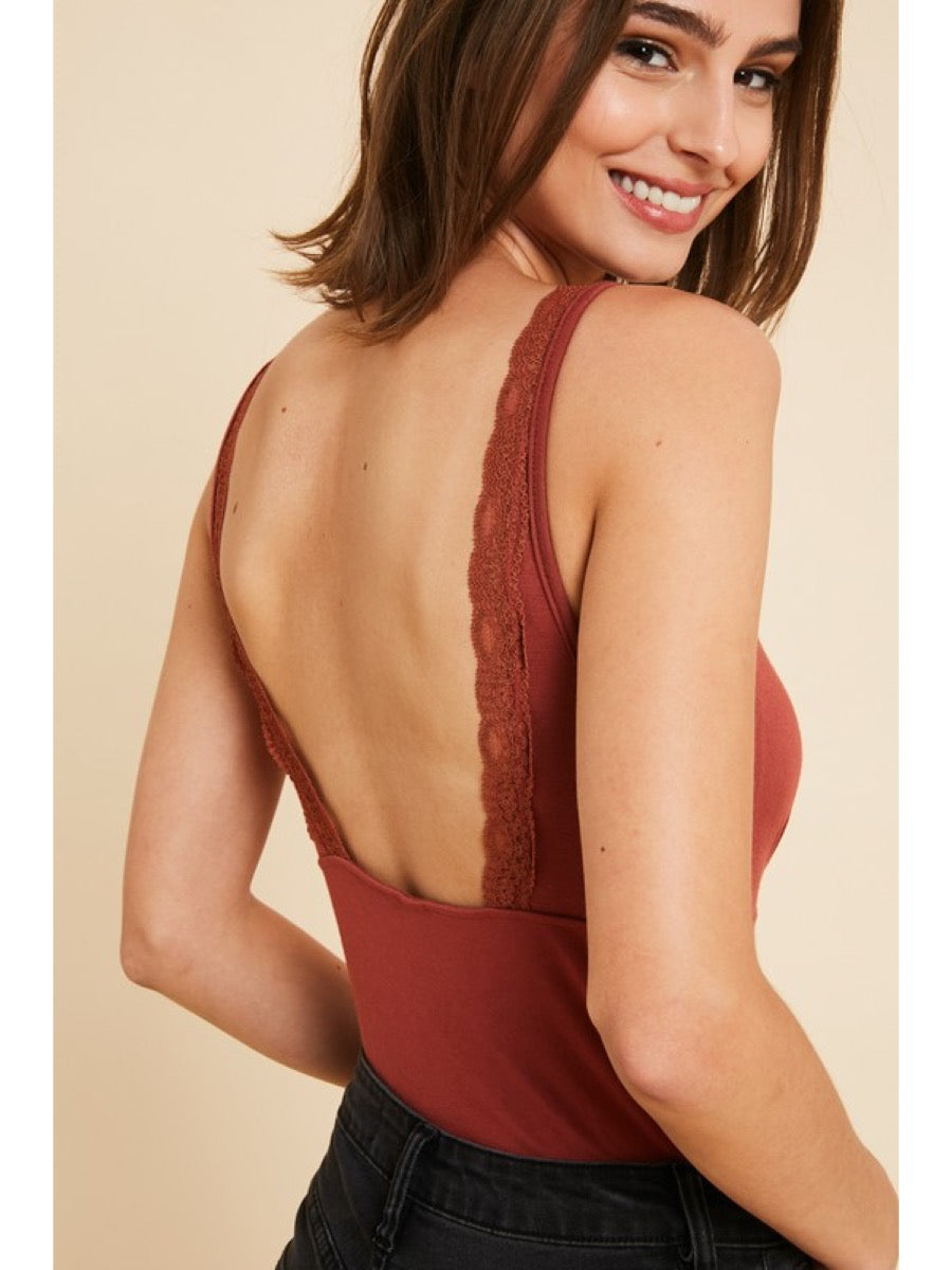 Padded Tank Top W/Lace Trimming WL19-2237 Brick S