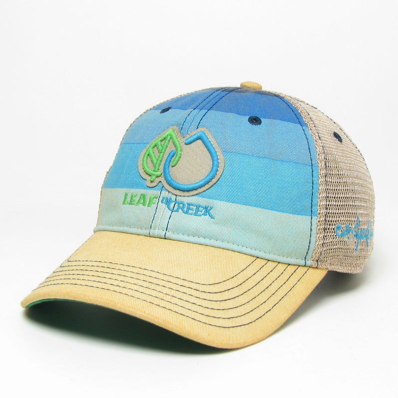 LIC Hat Leaf Drop Logo -Blue Stripe Trucker