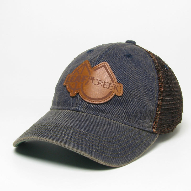 LIC Hat Leather Logo -Navy Greaser Trucker