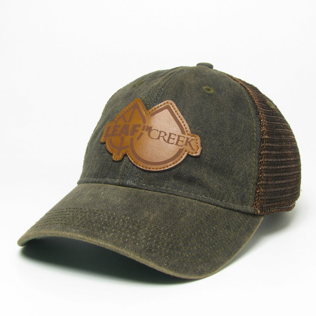LIC Hat Leather Logo -Black Greaser Trucker