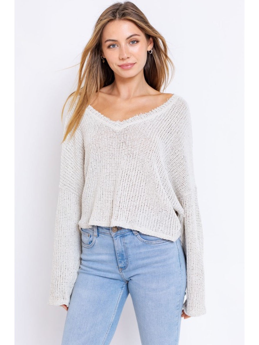 Vneck Oversize Cropped Sweater Top CT5107