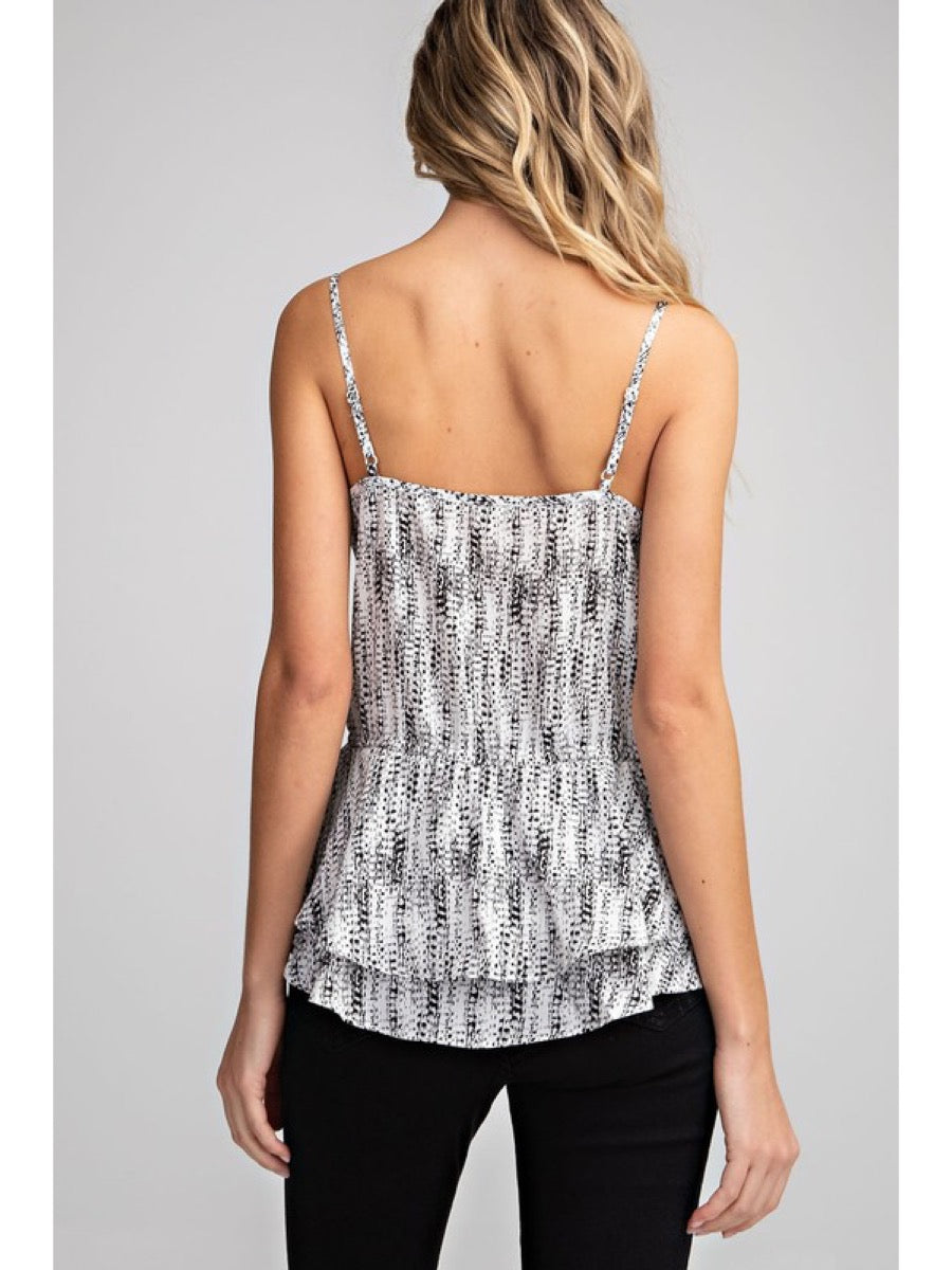 Printed Button Down V Neck Tank Top  TG5055