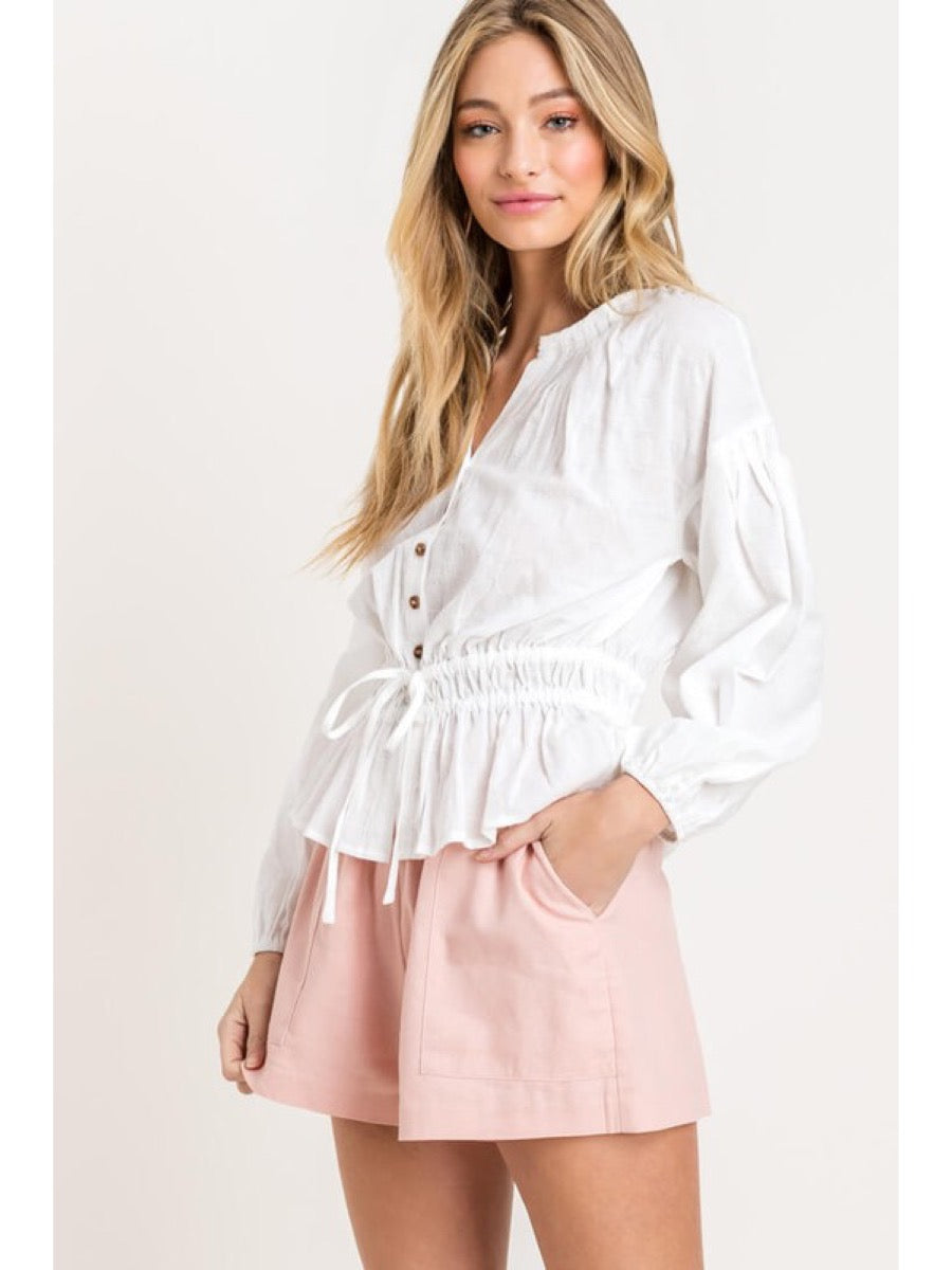 Button Ruched Peasant Top LT14469-CI Off White S
