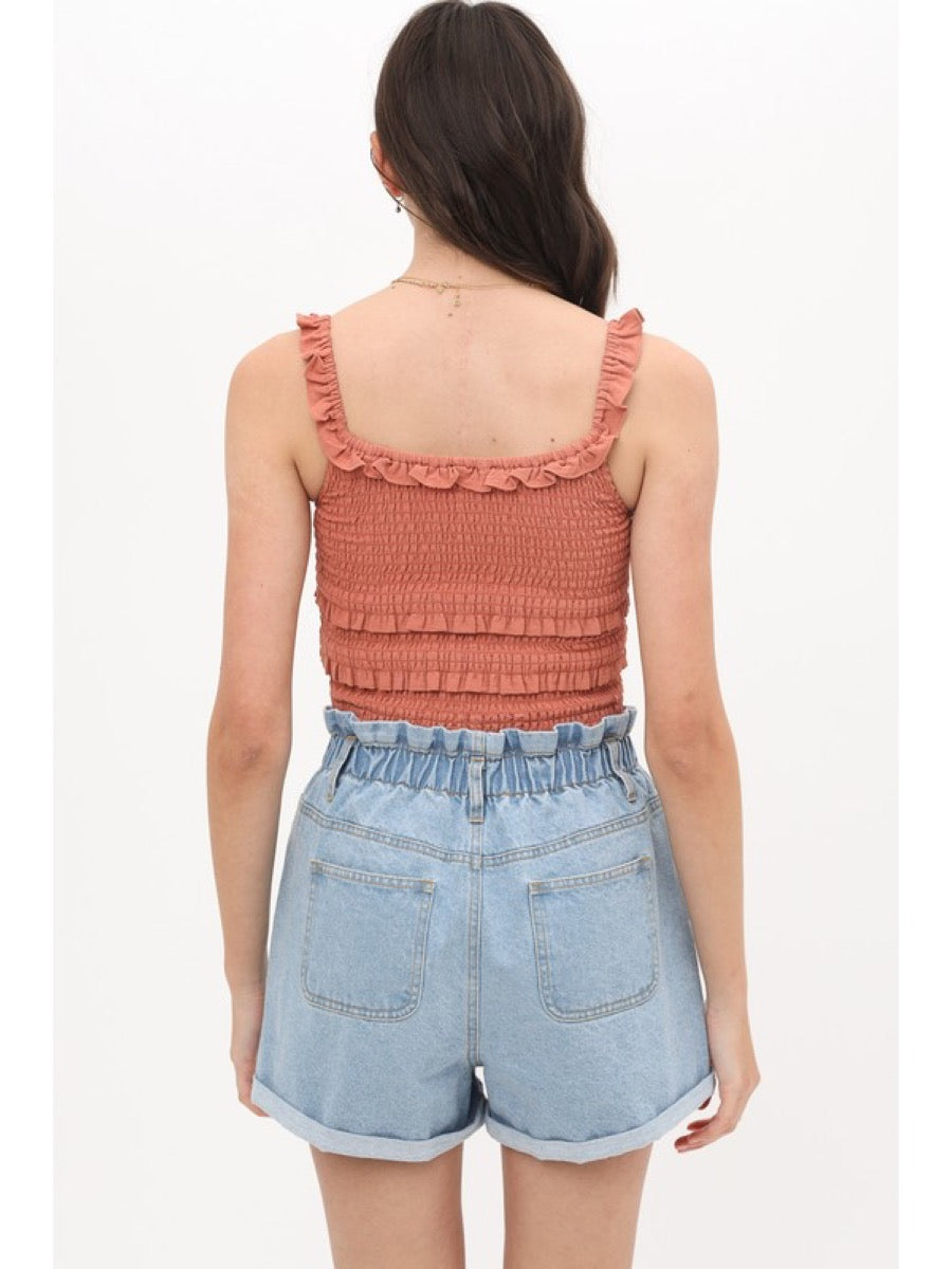 Cropped tank top with ruffled hem 2649TN