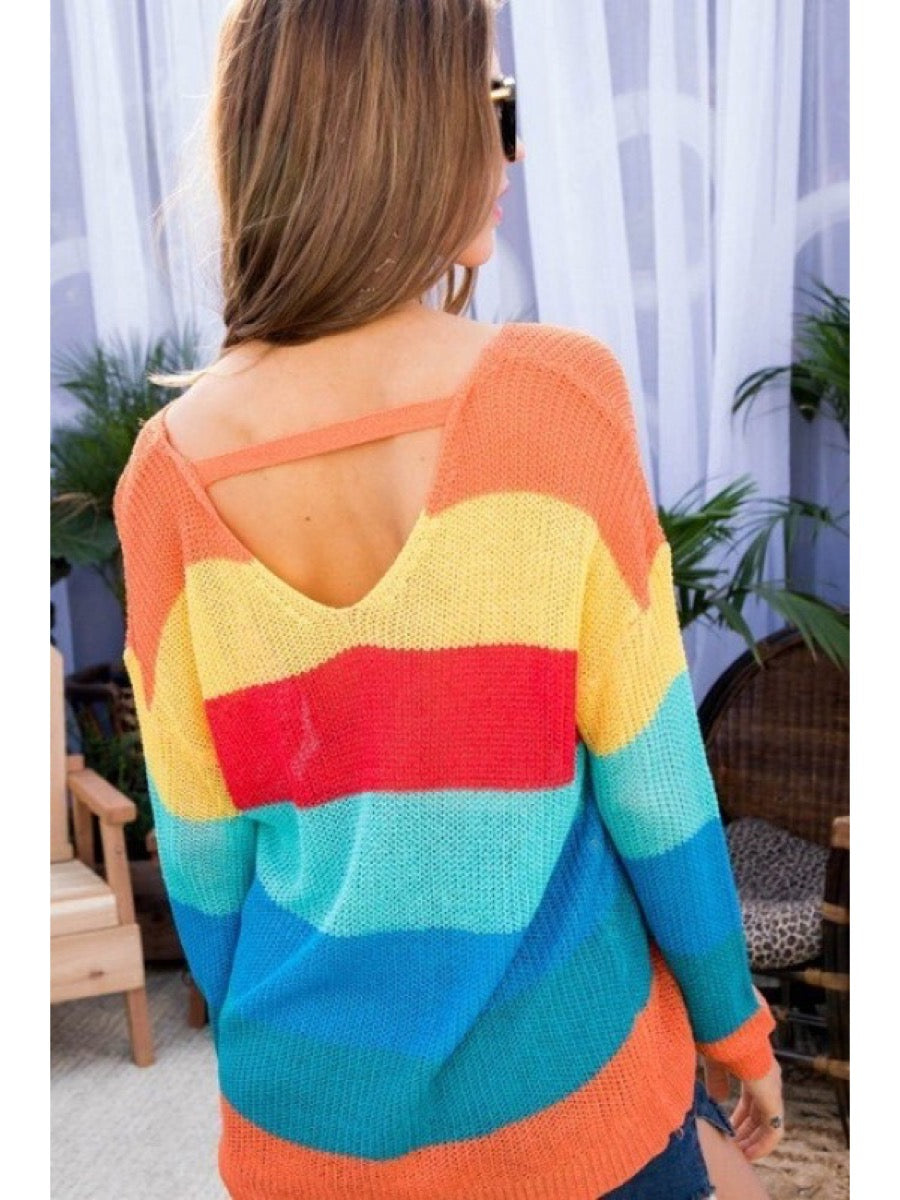 L/S Back Chocker Sweater LT32159 Multi