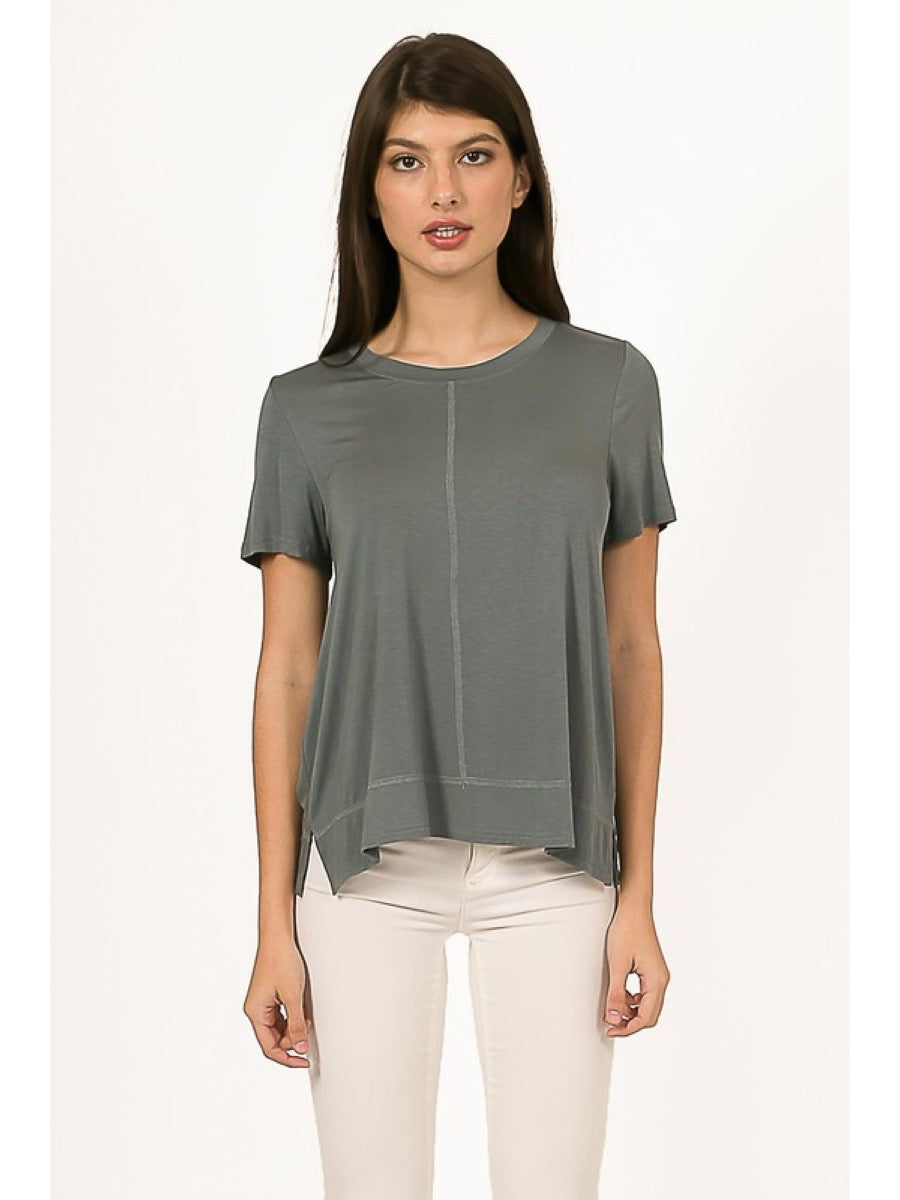 Light-weight top w/ front stitching VT14499