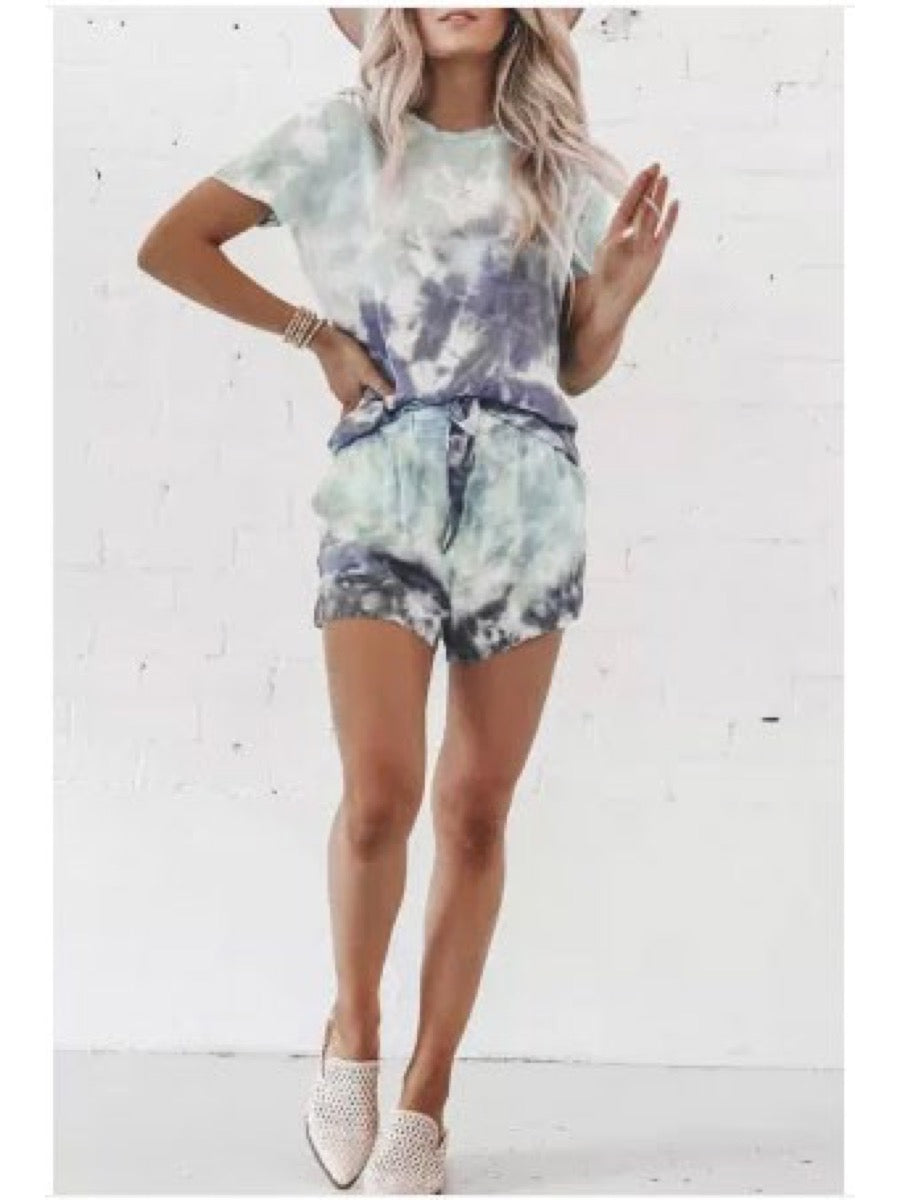 Mint Tie Dye Lounge Set LC62093-4