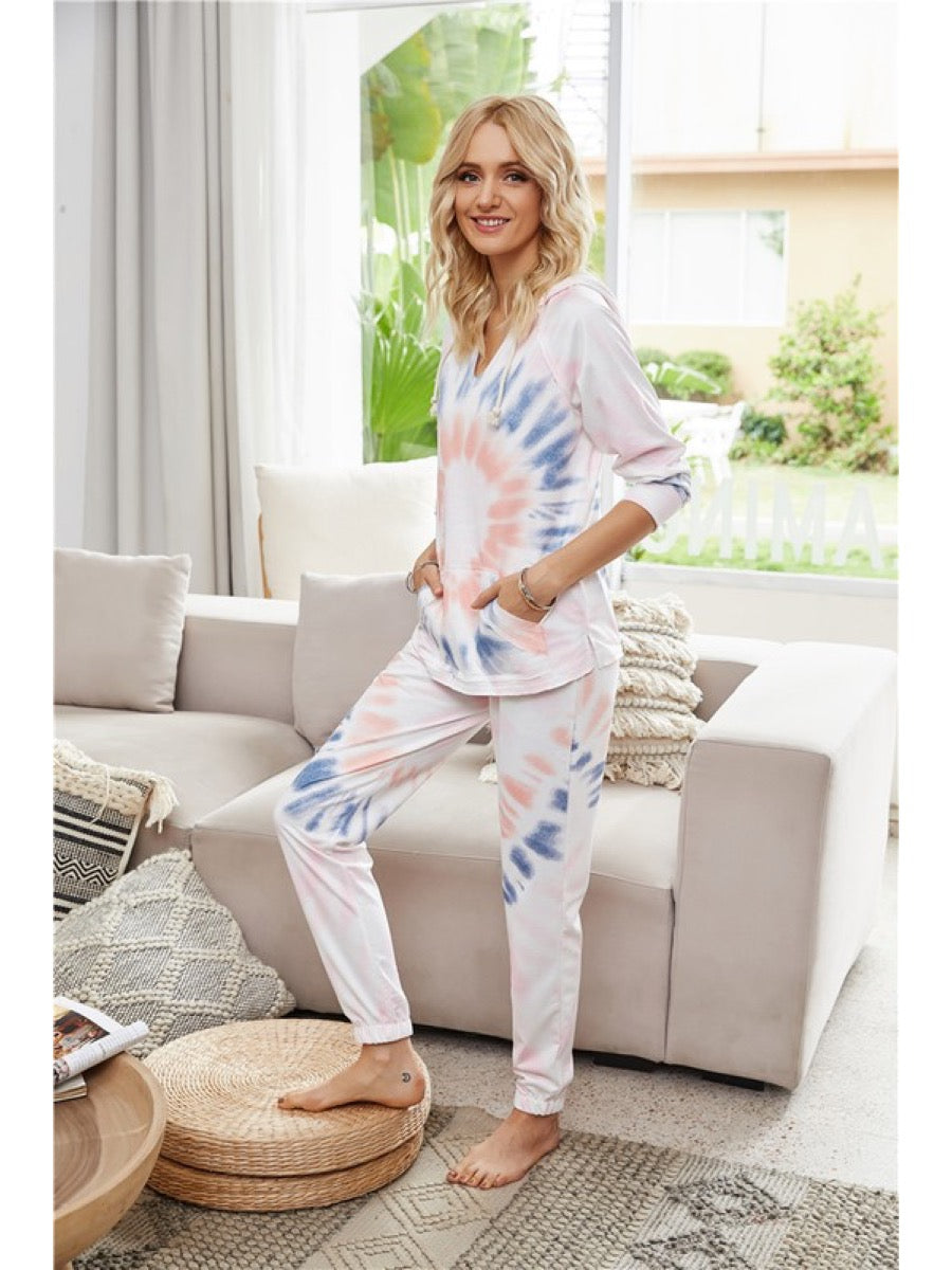Tie Dye Hoodie and pants lounge wear Set