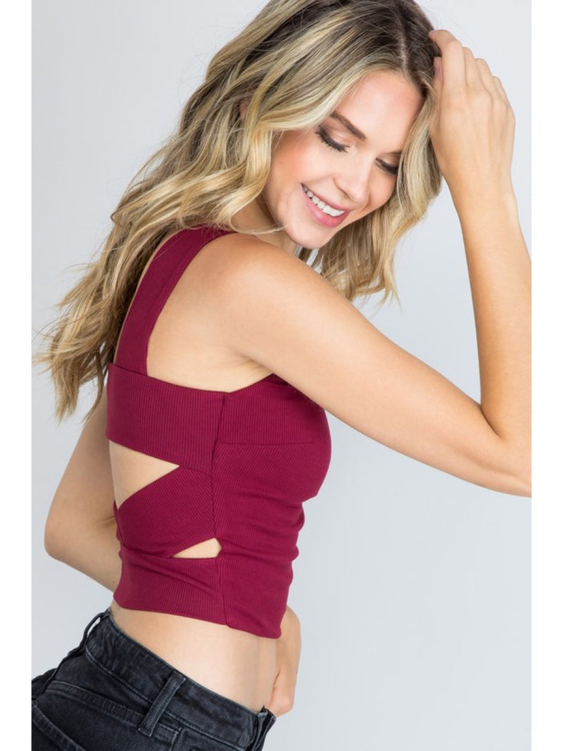 Ribbed Square Neck Top T4703