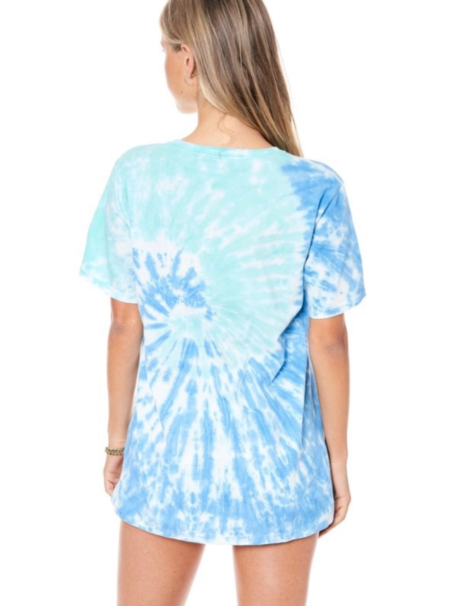 ROCK & ROLL TIGER GRAPHIC TIE DYE TOP F9958-0125