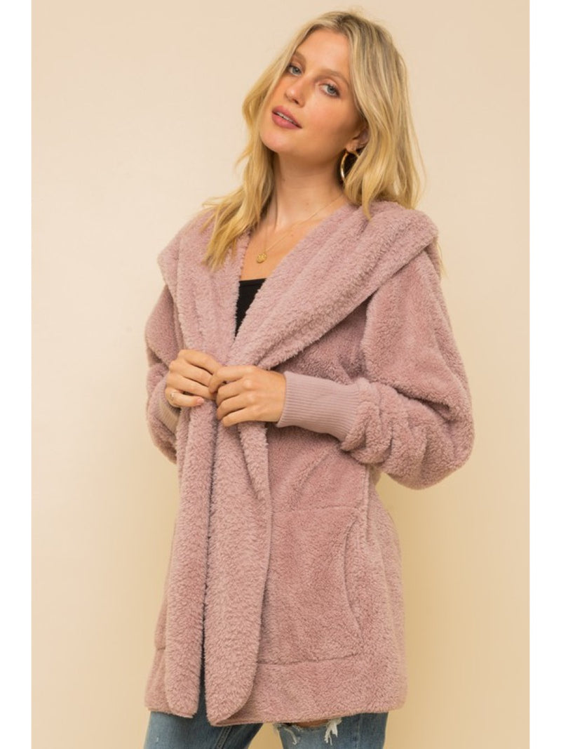 Faux fur So Soft plush hooded jacket with pockets