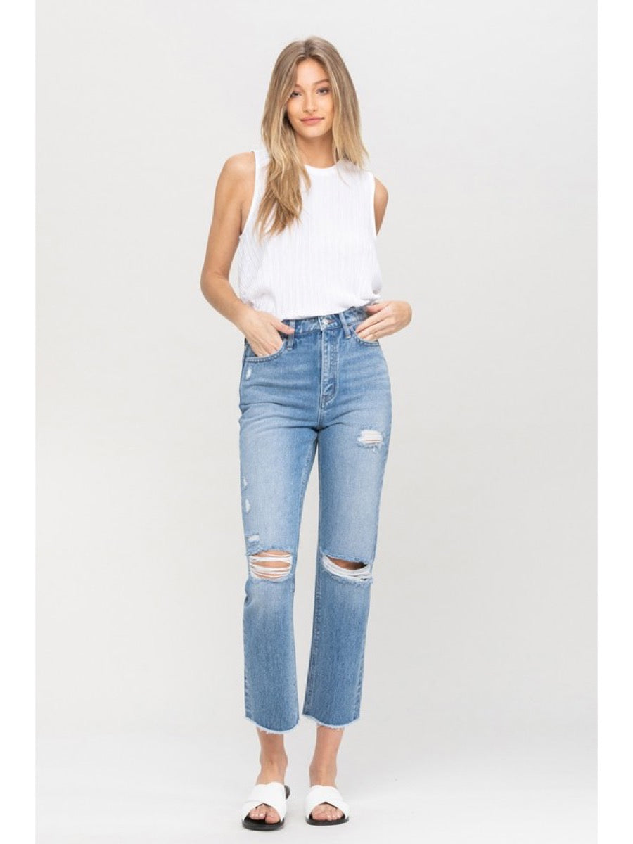 SUPER HIGH RISE DISTRESSED SLIM STRAIGHT VT1176