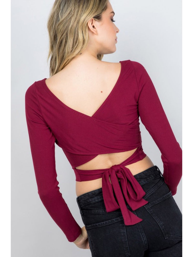 Cross Back Ribbed Top T4731