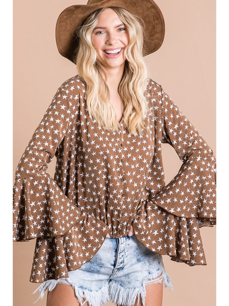 Star Print Ruffle Sleeves Crop Top