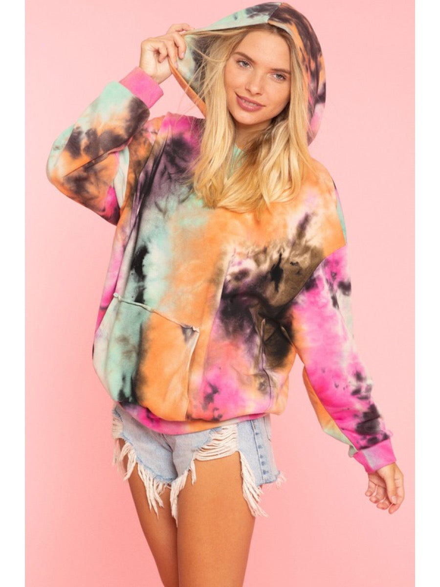 Tie dyed hooded sweatshirts Kangaroo pocket KT81034-06