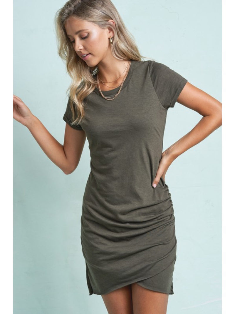 Solid Ruched T-Shirts Dress Olive   MLD5010