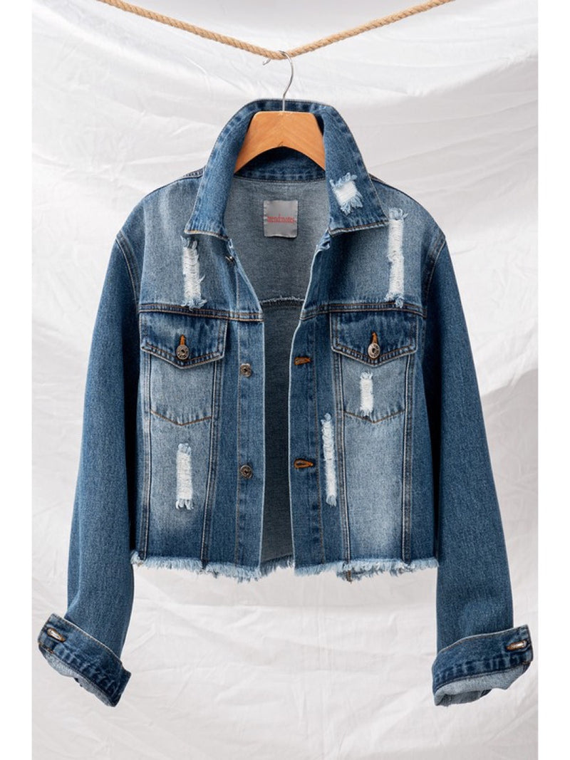 DISTRESSED SHORT DENIM JACKET 0648-2425-10
