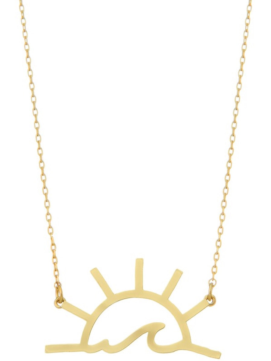 Brass sun and wave pendant necklace. INB069