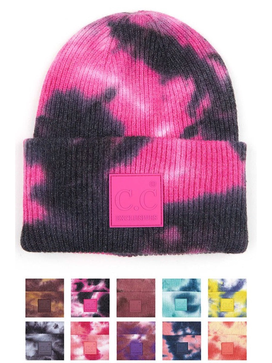 C.C tie dye beanie with rubber patch HAT-7380