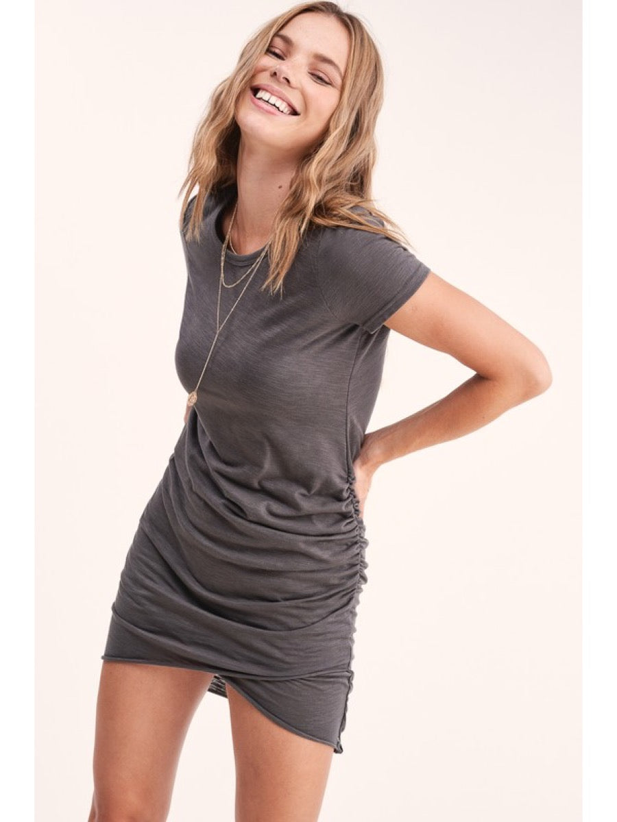 Solid Ruched T-Shirts Dress Charcoal   MLD5010