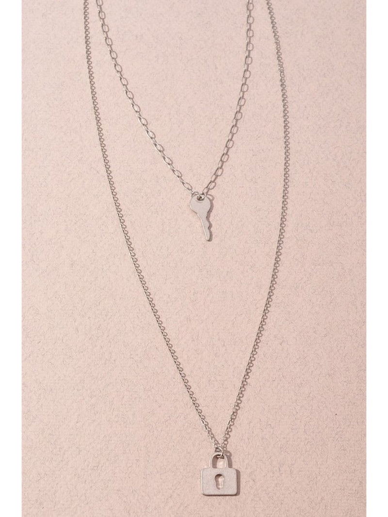Lock and Key double necklace LCE-B1NIN16665