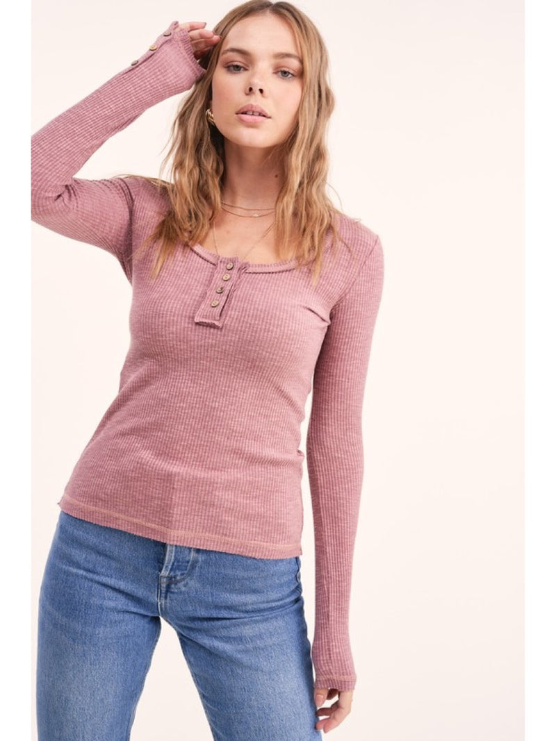 Henley top designed in a fitted silhouette HUT7409