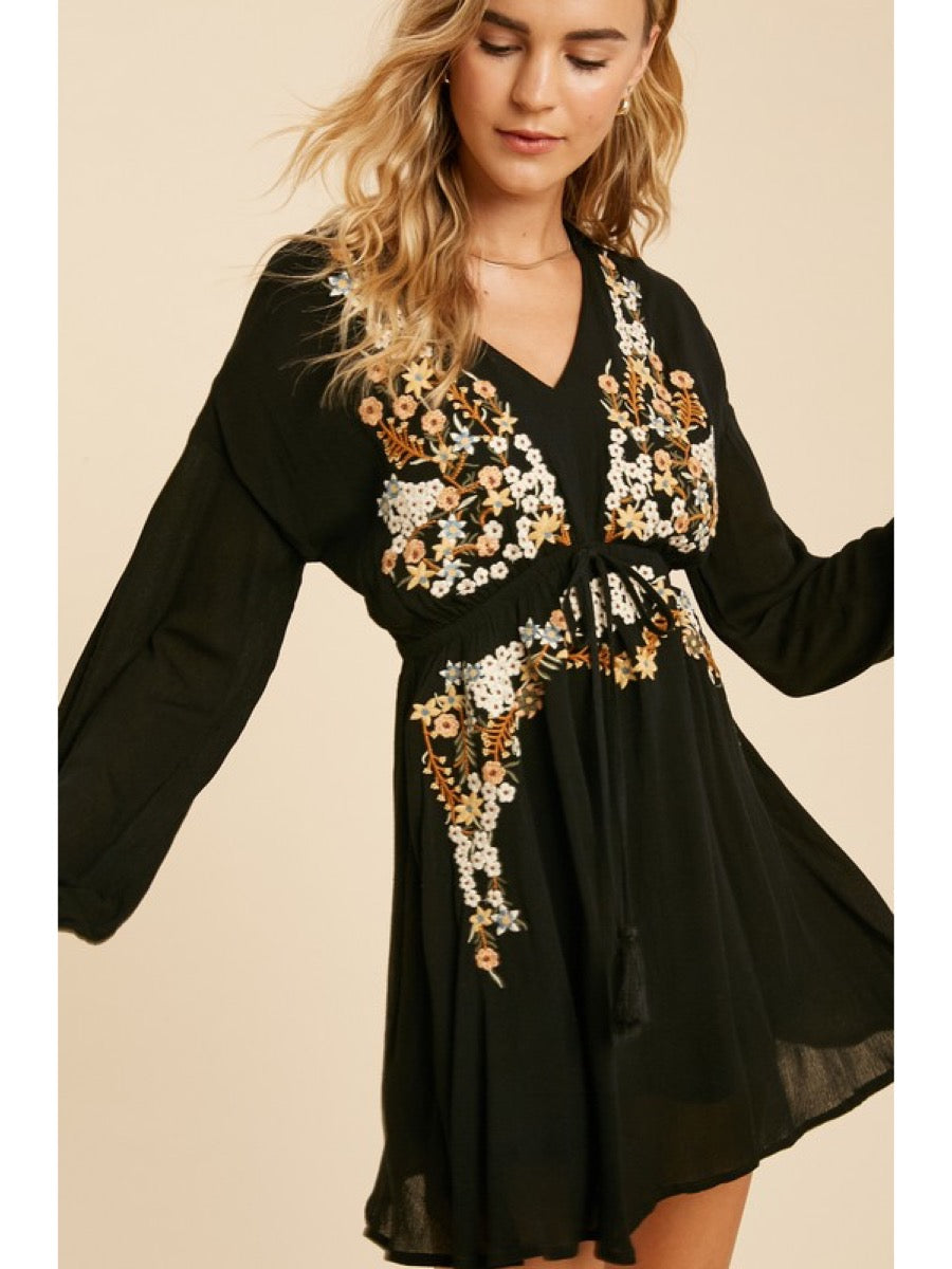 FLORAL EMBROIDERED BABYDOLL MINI DRESS ILD3031