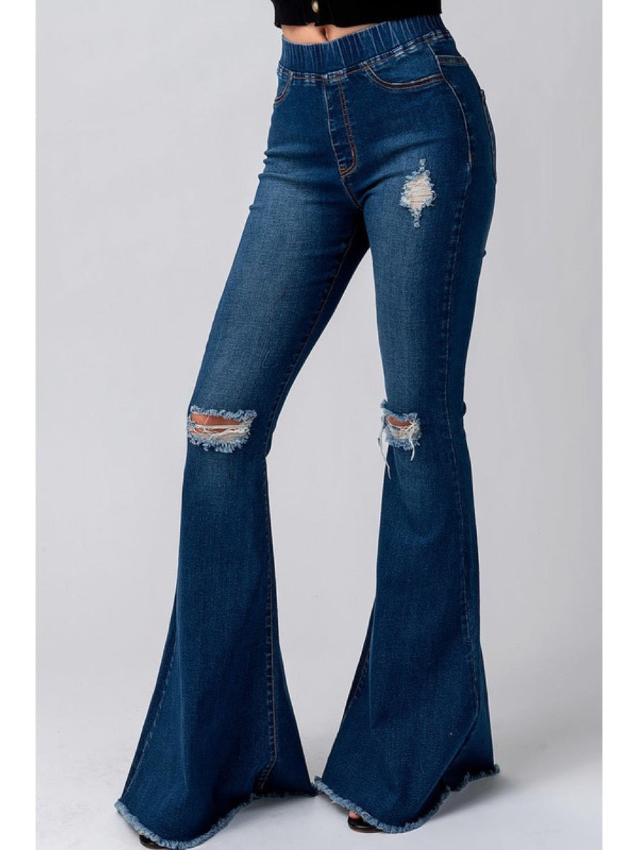 DISTRESSED ELASTIC WAIST BELL BOTTOM JEANS 0250-1074-2