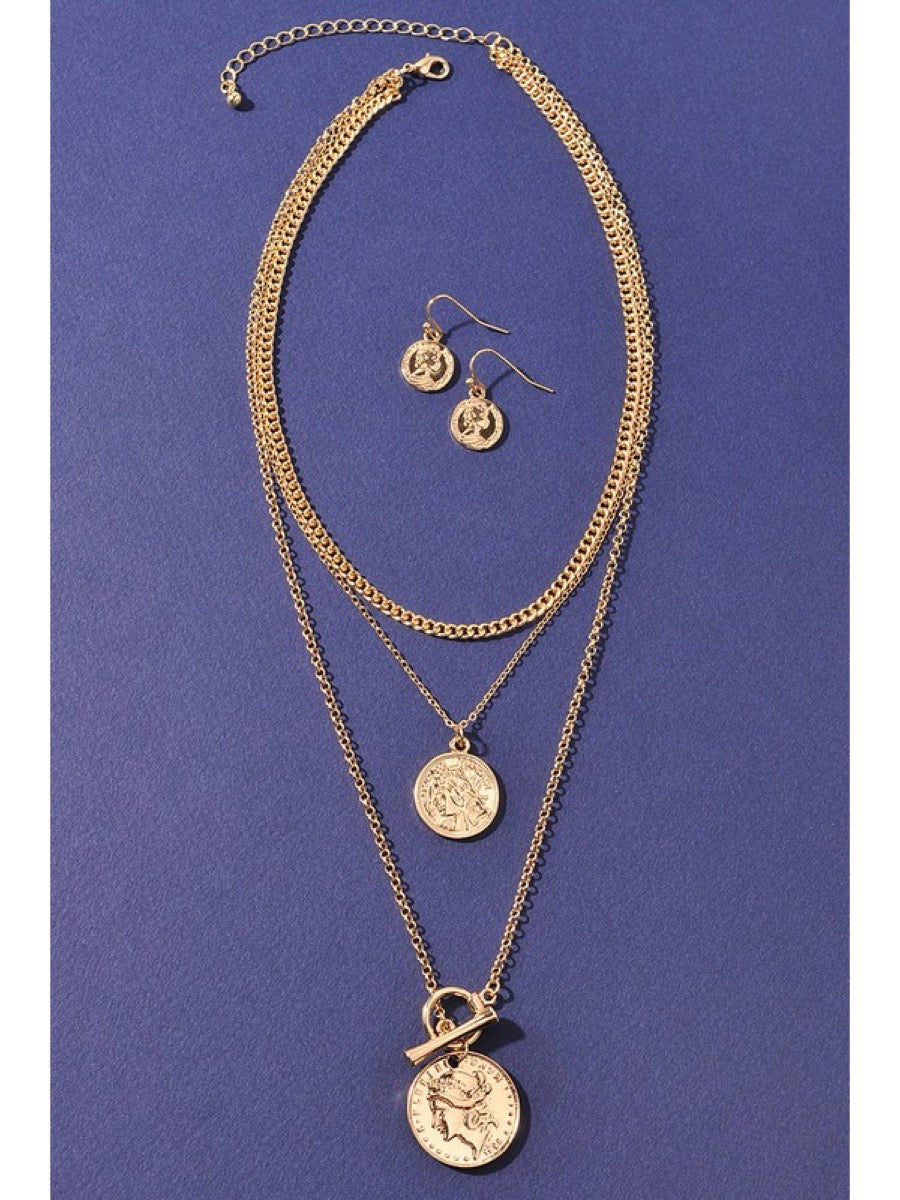 Chain coin double necklace-J1NELNE1136