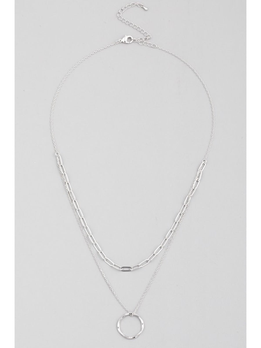 Layered Chain Circle Pendant Necklace INB266