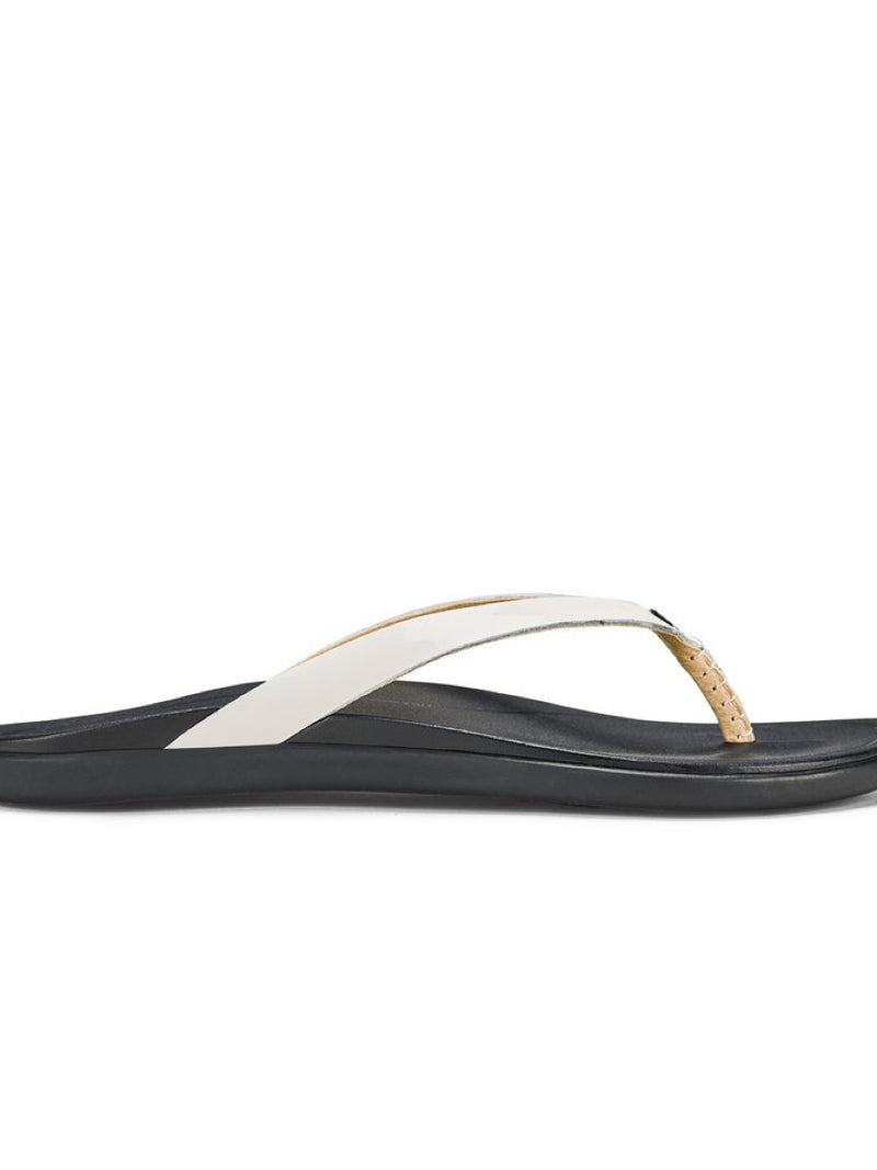 Olukai Women HO'OPIO LEATHER Sandal - White/Black