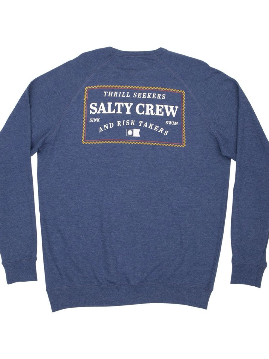 Salty Crew Mens Topstitch Crew - Navy