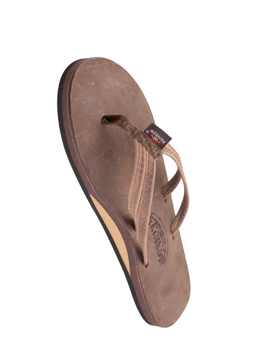 "Rainbow Women's Sandpiper - Nogales Wood Luxury Leather Single Layer Arch Support w/ Double Narrow 1/3"" Strap"