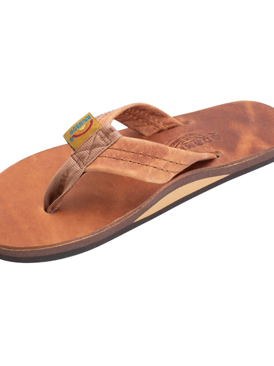 Rainbow Men's Luxury Leather - Tahitian Tan Single Layer Arch Support