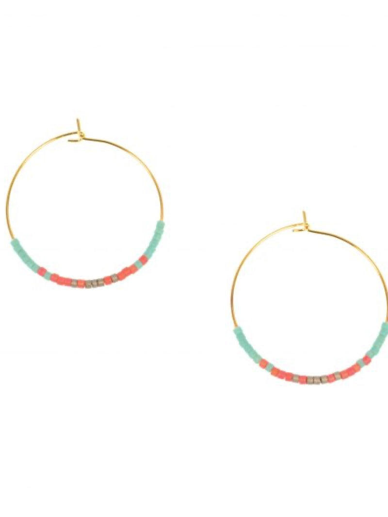 Joy Susan Gold Endless Hoop w/Beads Earrings