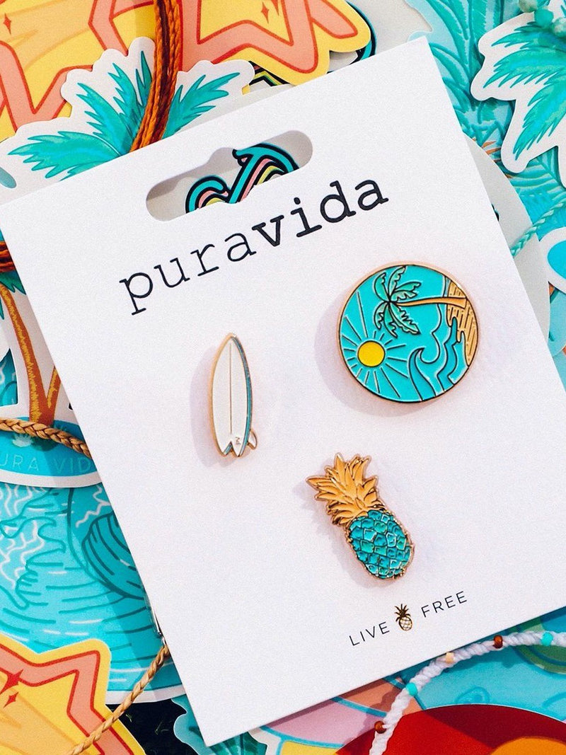 Pura Vida Surf Check Pin Set