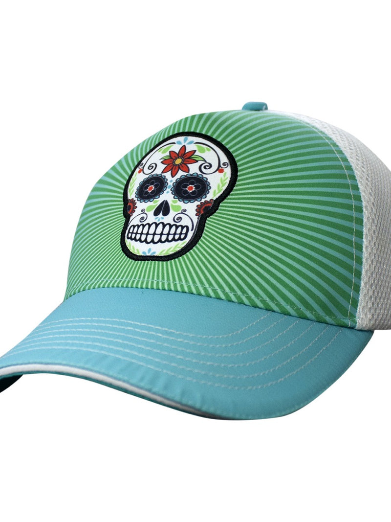 Headsweats Trucker Hat Teal Sugar Skull