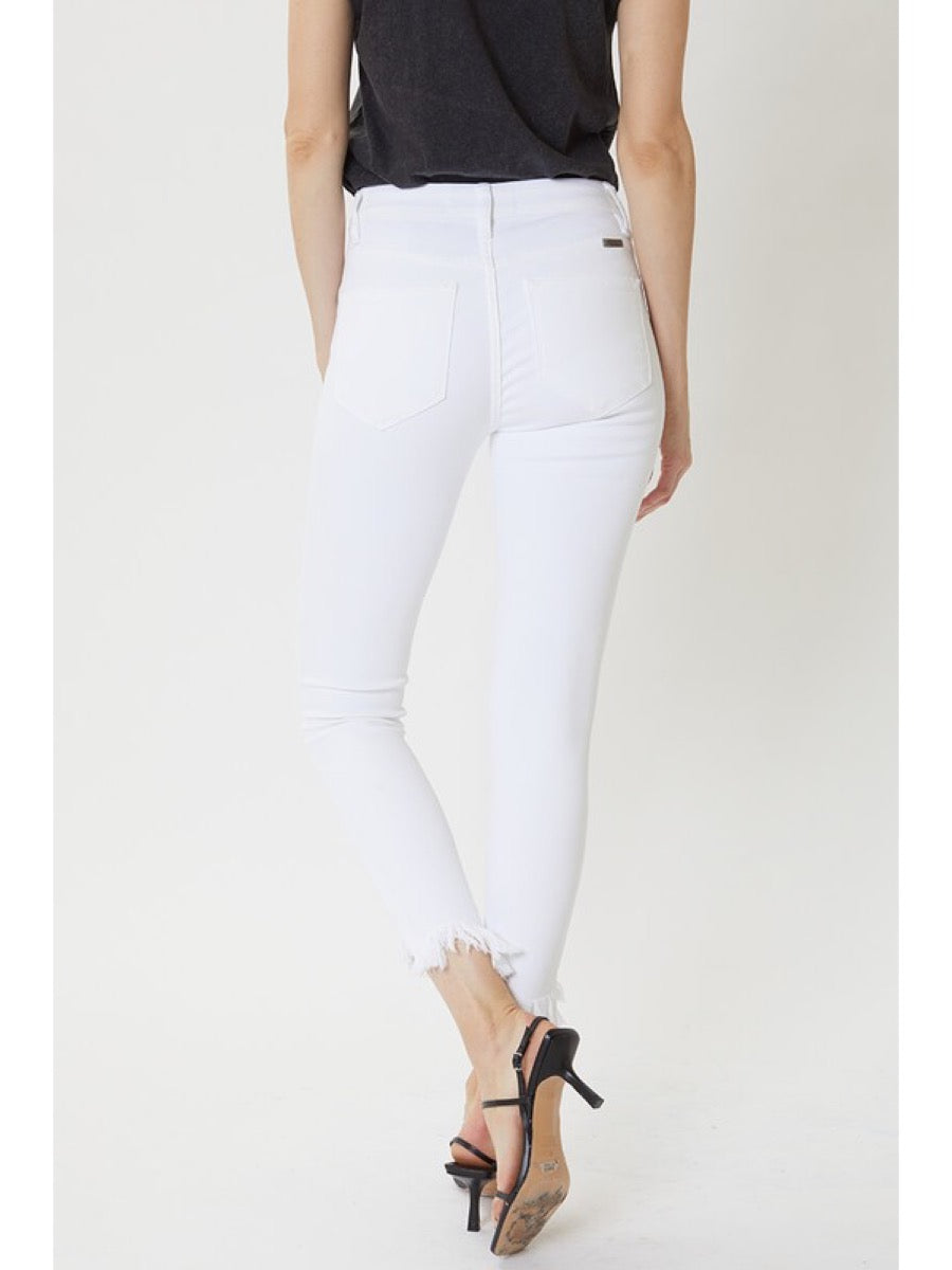 High Waist White Cropped Jeans KC7267WT