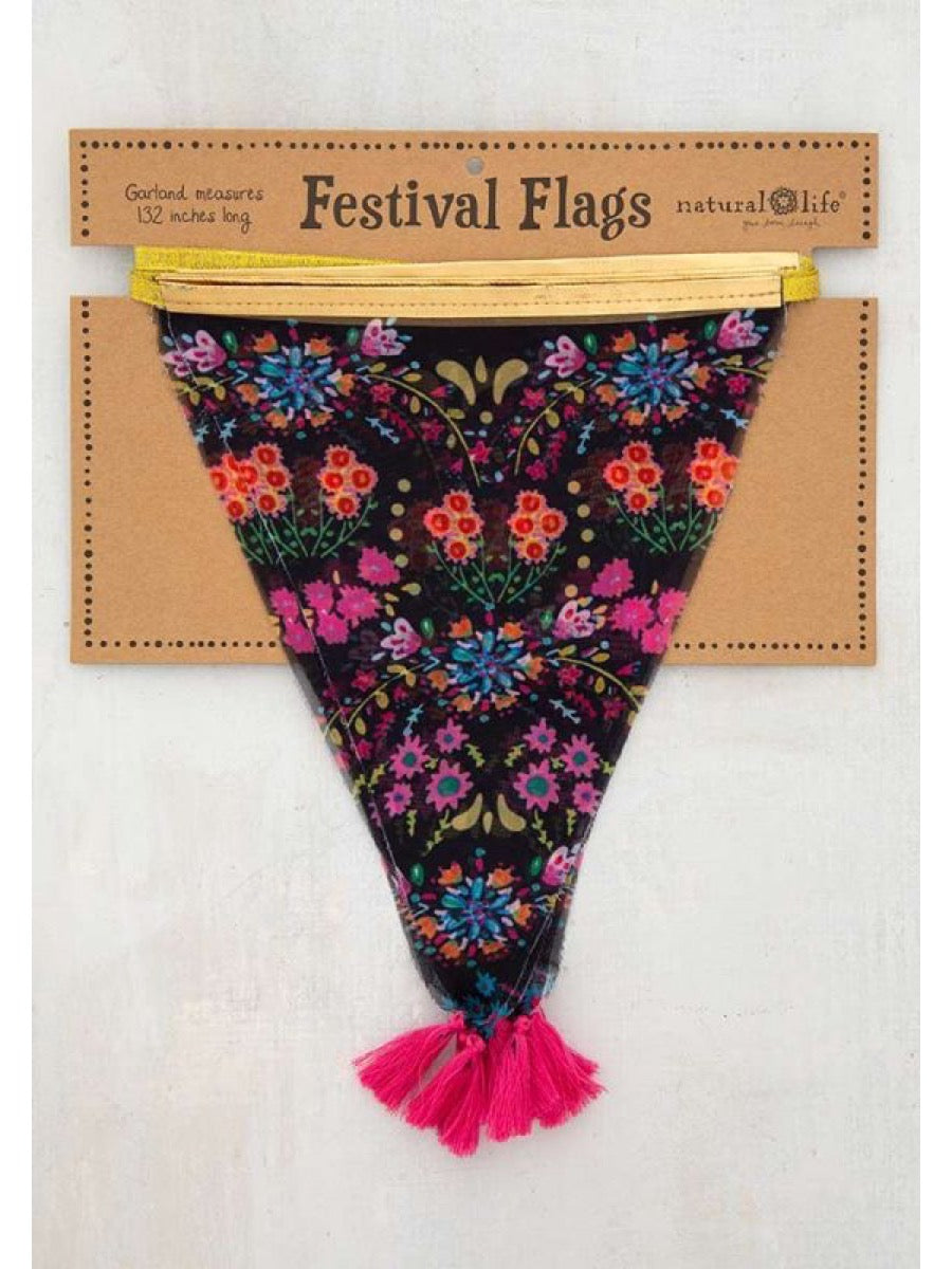 Natural Life Black Floral Festival Flags