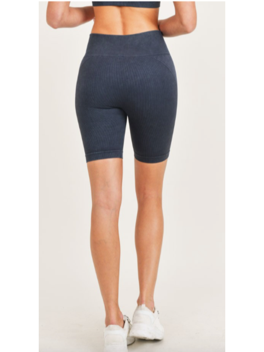 Spliced Mineral-Washed Seamless Biker Shorts APH3033